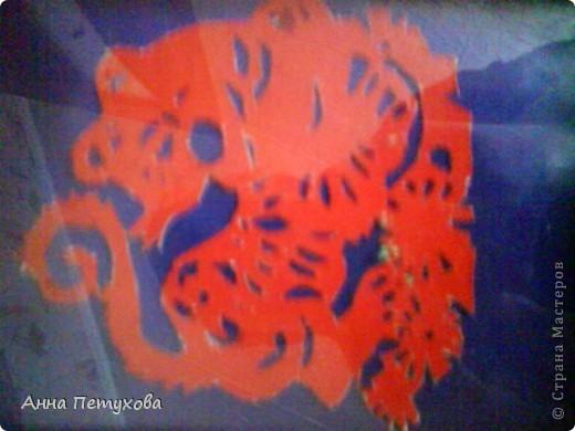 Часики-яблочко, рамочка с ракушками и тигр из бумаги фото 3