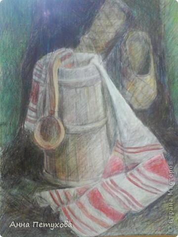 Эта работа выполнена цветным карандашом фото 1