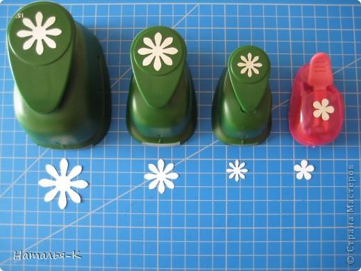 Приглашаю всех, (кому интересно) в мою ,,рабочую кухню,, Сегодня предлагаю вам ,,рецепт,, - ромашка из дырокольных цветов. Ромашки делала для этой картины    http://stranamasterov.ru/node/378810 фото 15