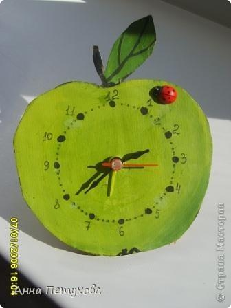Часики-яблочко, рамочка с ракушками и тигр из бумаги фото 1