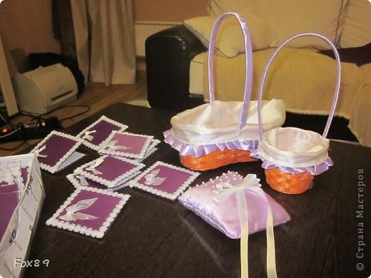 Приглашения, корзиночки для лепестков, подушечка под кольца. фото 1