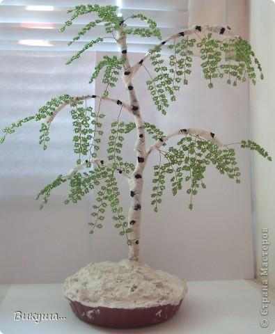 Поделка изделие Бисероплетение дерево Берёза из бисера Бисер.
