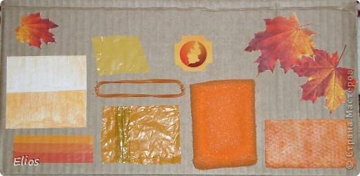 """Вот такую развавашку я сделала для одного малыша.  Использованы материалы: картон, бумага, цветной полиэтилен, пластик, шлейф, вырезанные картинки, нитки, спицы, крючок, резинки канцелярские, упаковка от кофе, губки для мытья посуды, тканевые салфетки крашеные акварелью, ткань и прочая разноцветность. Конечно, это скорее подходит к разделу """"Аппликация"""", чем к """"Вязанию"""", но саму идею я подсмотрела именно из навязанных разноцветных квадратиков, пришитых к картонным листам. Я же в своей работе хотела не только цвет малышу показать, но и оттенки этих цветов, а так же чтоб он пальчиками потрагал разную материальность: гладкую-шершавую, твёрдое-мягкое.  Ребёнку подарок очень понравился - сразу попытался оторвать резинки)) фото 2"""