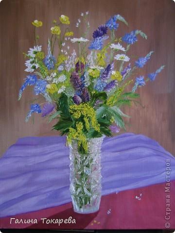 "натюрморт ""Полевые цветы"" .Масло,холст. Работа над ошибками."