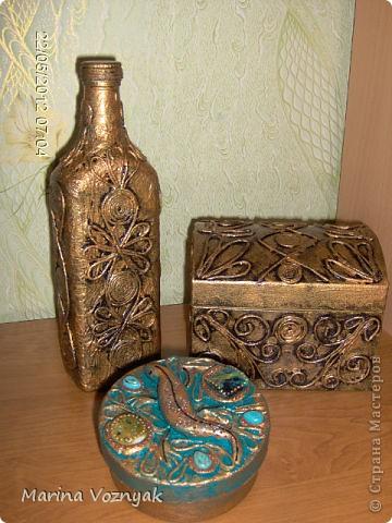 решила облагородить  использованные коробочки и бутылку)) фото 1