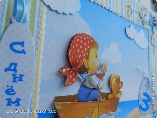 Здравствуйте!!!!!А я сегодня с детской открыточкой!Задача была-совместить открытку и полноценную фоторамку))))Получилось вот так!)))Заказчица из Калининграда и мне почему-то сразу захотелось в морской теме сделать..Использовала акварельную и фотобумагу,пуговки настоящие и вырубные,и принтер(как всегда)))))Открыточка получилась большая 20х16см.,сделана по принципу открытки-стойки.. фото 2