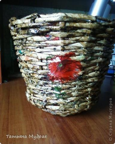 Моя первая работа. Проба плетения и декупажа. фото 1