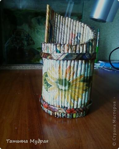 Проба плетения из трубочек .И декупаж. фото 1