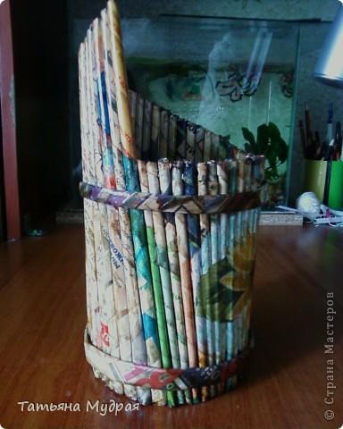 Проба плетения из трубочек .И декупаж. фото 2