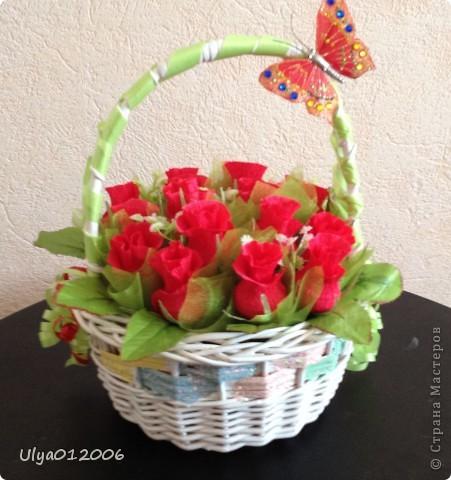 Корзина красных роз фото 1