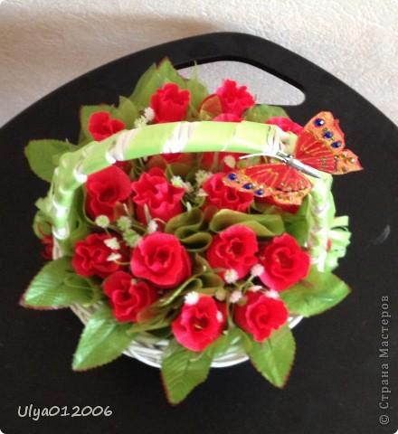 Корзина красных роз фото 3
