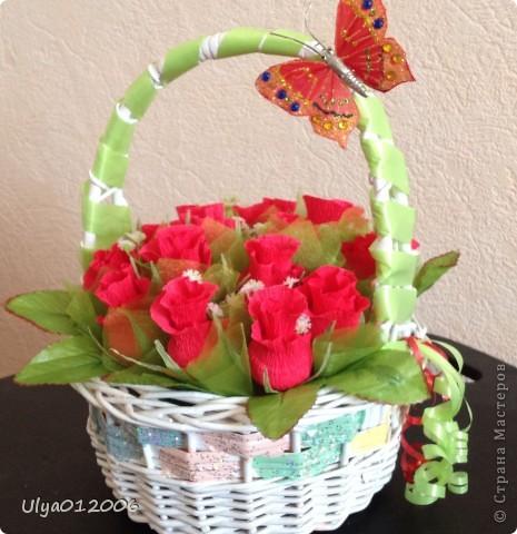 Корзина красных роз фото 2