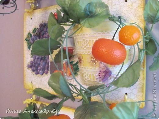 Очень понравилось панно Физалии http://stranamasterov.ru/node/357421?c=favorite  и решила тоже сделать что - то подобное на кухню на даче. Не обращайте внимания на фон, обои еще не наклеены, но куплены, бежевые с гроздьями винограда, поэтому и салфеточки выбирала под стать обоев.  фото 7