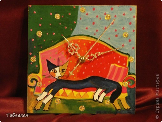 Вот такой получился комплектик для двух любителей кошек))  размер 17х17, задняя сторона золотистая, подвесы на гвоздиках. Распечатка. фото 2