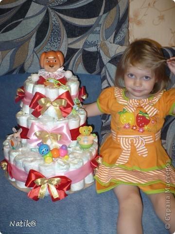 Первый раз попробовала делать такой торт - СУПЕР!!!!!!!!!!!! Ушло 72 памперса фото 1