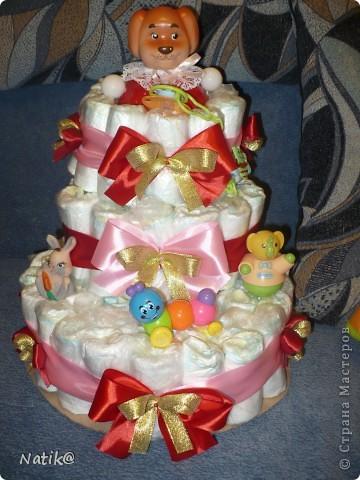 Первый раз попробовала делать такой торт - СУПЕР!!!!!!!!!!!! Ушло 72 памперса фото 2