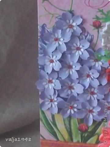Здравствуйте, дорогие жители  страны  Мастеров!!!  Я сегодня к вам  с  новыми  открытками! Подходят дни рождений  у подруг.,  у родственников  и к подарку стараюсь  приложить небольшую  открыточку!  Как всегда для фона я использую готовые открытки, внутри они с надписями, что облегчает мой  труд! В своей работе использовала  дырольные цветочки, очень  нравится  работать с дыроклом! фото 6