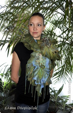 "Шарф ""Тропический лес"". фото 1"