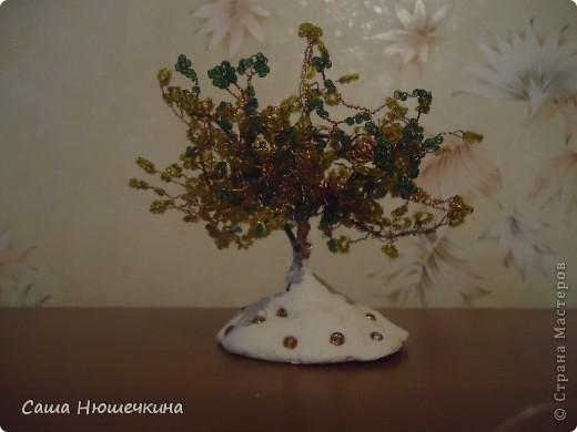 Деревце с подставкой из соленого теста, подставка украшена крупными бусинками.