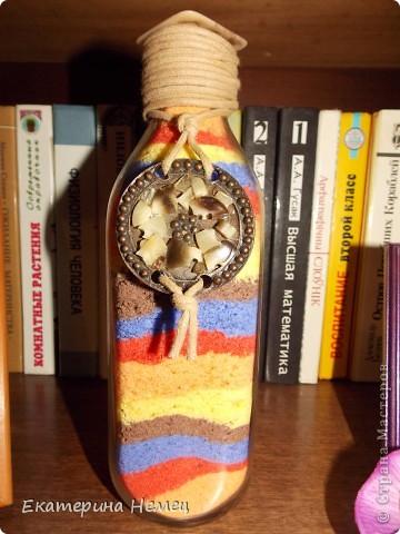 Случайно увидела в интернете  бутылки  с цветной солью, очень захотелось самой попробовать. Вот, первая моя работа.