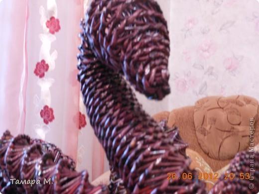 Здравствуйте, дорогие мастерицы СМ. Выложила лебедя, сплетенного зимой. Цвет на самом деле темнее. фото 3