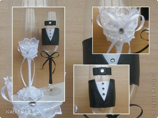 """Свадебные фужеры """"Жених и невеста"""". Клиентка прислала фото, по которому попросила сделать повторюшку. Если кто-то узнает в оригинале свою работу - прошу прощения)))) Вот что получилось. фото 1"""