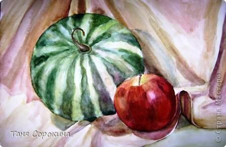Начался сезон консервации!!!))) Вот решила показать вам пару работ с аппетитными ягодами и фруктами,  и стихотворение на эту тему... Арбузик (акварель)