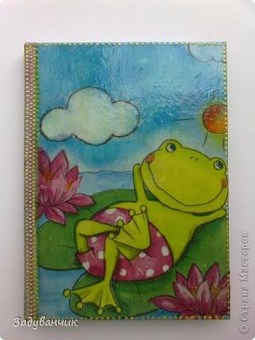 """Три работы) """"Задекупажила"""" для себя блокнотик, вот такой лягушонок-мечтатель) фото 1"""