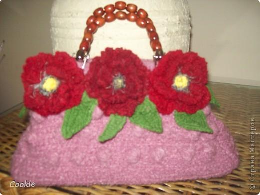 Решила связать ещё одну сумочку. Последнее время увлеклась вывязыванием цветов. фото 1