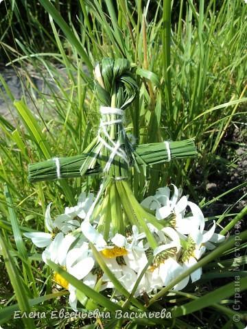 После сбора травы пусть она немного полежит, обмякнет, чтобы не порезаться. Куклы изготавливаются по технологии нитяных кукол.  фото 1