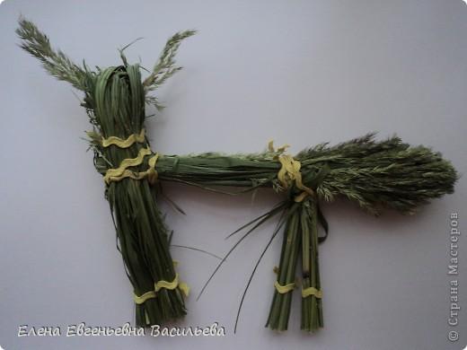 После сбора травы пусть она немного полежит, обмякнет, чтобы не порезаться. Куклы изготавливаются по технологии нитяных кукол.  фото 6