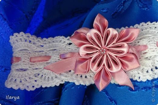 Самая простая, быстрая и красивая рукодельная вещь хоть для своей пока еще лысенькой принцессы, хоть в подарок- повязочки. Разного фасона , цвета, в разных техниках. Наша первая повязочка, связанная из ириса, на пол-годика: фото 9