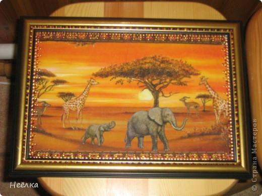 Картинка в стиле Африка выполнена на канве для вышивания фото 1