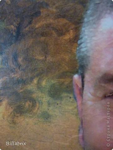 Приветствую всех жителей нашей чудесной Страны Мастеров, всех тех кто заскочил ко мне посмотреть очередной декупажный портрет на холсте ))))  Сегодня я к вам с портретом моего папы.  Сделан он был папе в подарок на день рождения, и подарен еще в марте, но вот как то все руки не доходили его показать. фото 3