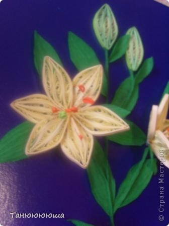 Вот такие лилия я попыталась повторить по замечательному мастер -классу Пылинки, спасибо огромное!!! Не судите строго это моя первая такая работа фото 4