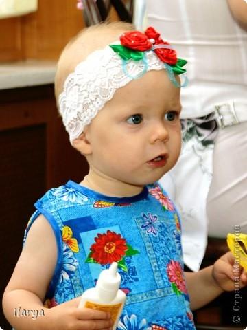 Самая простая, быстрая и красивая рукодельная вещь хоть для своей пока еще лысенькой принцессы, хоть в подарок- повязочки. Разного фасона , цвета, в разных техниках. Наша первая повязочка, связанная из ириса, на пол-годика: фото 8