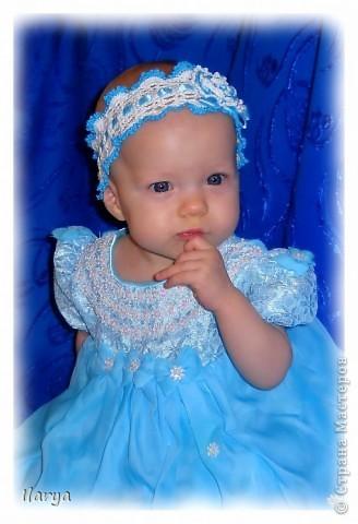 Самая простая, быстрая и красивая рукодельная вещь хоть для своей пока еще лысенькой принцессы, хоть в подарок- повязочки. Разного фасона , цвета, в разных техниках. Наша первая повязочка, связанная из ириса, на пол-годика: фото 4