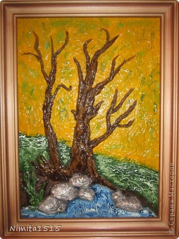 Картина панно рисунок Аппликация Картины из туалетной бумаги Бумага Гуашь Клей фото 3