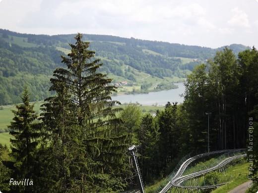 Alpsee Coaster самый длинный в Германии родельбан (горка для катания на санях) Длина 3 км, подъем в гору (на высоту около 1400 м) на подвесной дороге. При спуске - 68 поворотов, 23 волны, 7 прыжков, 4 моста, и 430-градусный спиральный поворот. Скорость развивается до 40 км в час Подъем в гору происходит на подвесной дороге.  Я фотографировала  маму и Вику со своего сиденья.  фото 4