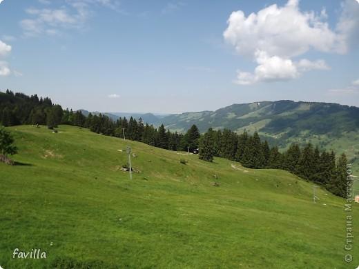 Alpsee Coaster самый длинный в Германии родельбан (горка для катания на санях) Длина 3 км, подъем в гору (на высоту около 1400 м) на подвесной дороге. При спуске - 68 поворотов, 23 волны, 7 прыжков, 4 моста, и 430-градусный спиральный поворот. Скорость развивается до 40 км в час Подъем в гору происходит на подвесной дороге.  Я фотографировала  маму и Вику со своего сиденья.  фото 15