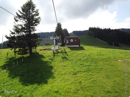Alpsee Coaster самый длинный в Германии родельбан (горка для катания на санях) Длина 3 км, подъем в гору (на высоту около 1400 м) на подвесной дороге. При спуске - 68 поворотов, 23 волны, 7 прыжков, 4 моста, и 430-градусный спиральный поворот. Скорость развивается до 40 км в час Подъем в гору происходит на подвесной дороге.  Я фотографировала  маму и Вику со своего сиденья.  фото 16