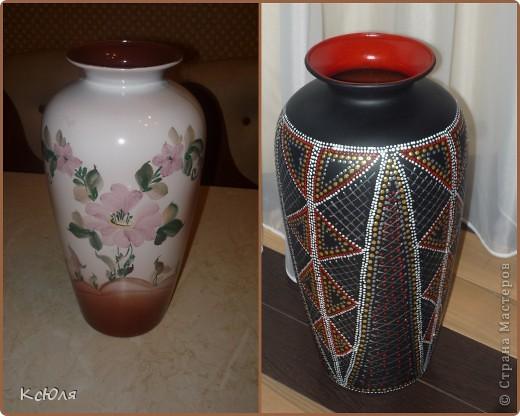 """Жила-была ничем не примечательная ваза, подаренная когда-то мне на свадьбу. Тогда (в середине 90-х) это был неплохой подарок. Сейчас она себя уже изжила и морально и физически. Сильно мозолила мне глаза, и я не выдержала... покрыла ее черным грунтом и """"обезобразила"""" с помощью контуров.... фото 1"""