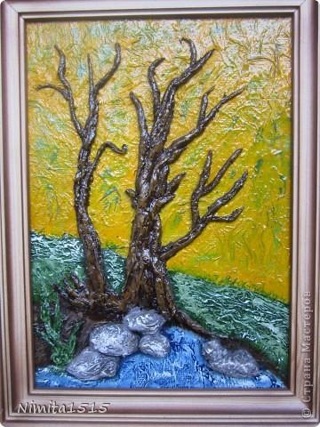 Картина панно рисунок Аппликация Картины из туалетной бумаги Бумага Гуашь Клей фото 4