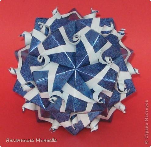 Сегодня МК кусудамы Нептун. Спасибо Юнии за название  этого сонобика.  Нептун (Neptune) автор: Валентина Минаева (Valentina Minayeva) для бумаги с двусторонним эффектом, на тройной сетке 30 модулей 10,0 х 10,0, диаметр - 10,5 см без клея Добавила ссылку на видеосборку модуля кусудамы Нептун: http://www.youtube.com/watch?v=y_MTnvNE-ek&feature=youtu.be  фото 1