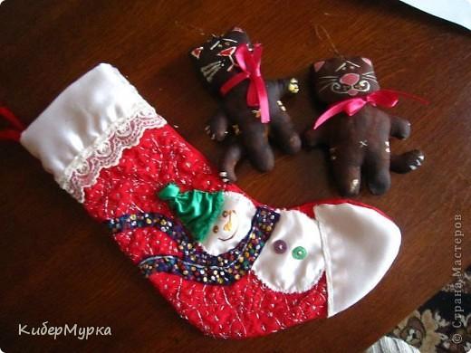 Новогодний носок и кофейные коты