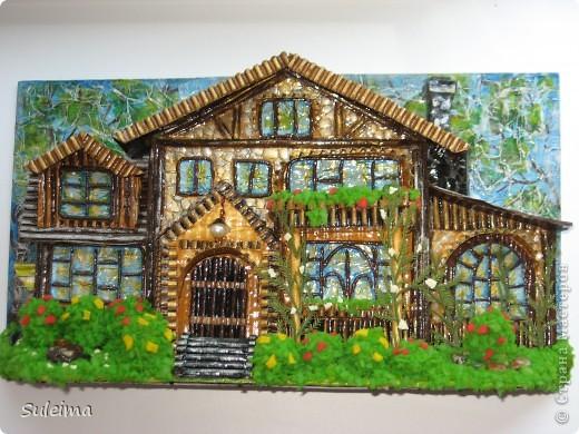 Картина панно рисунок Мастер-класс Бумагопластика Мастер класс по изготовлению панно Домик Картон гофрированный фото 1