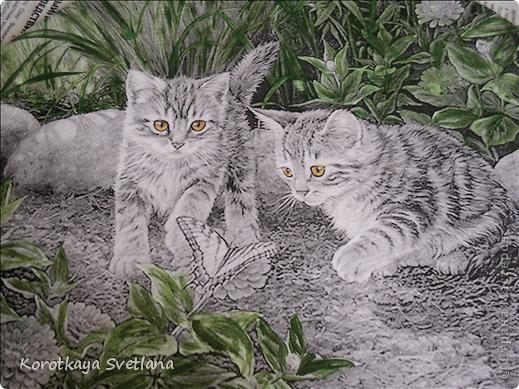 Дорогие мастера и мастерицы, хочу показать вам новые работы и эксперименты.  Это панно с котятами выполнено из не цветной распечатки на салфетке (белом слое). Разные распечатки я предлагала в обменнике. А сейчас хочу показать, что у меня получилось. фото 3
