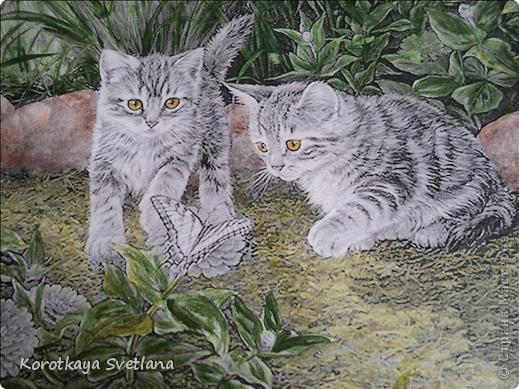Дорогие мастера и мастерицы, хочу показать вам новые работы и эксперименты.  Это панно с котятами выполнено из не цветной распечатки на салфетке (белом слое). Разные распечатки я предлагала в обменнике. А сейчас хочу показать, что у меня получилось. фото 4