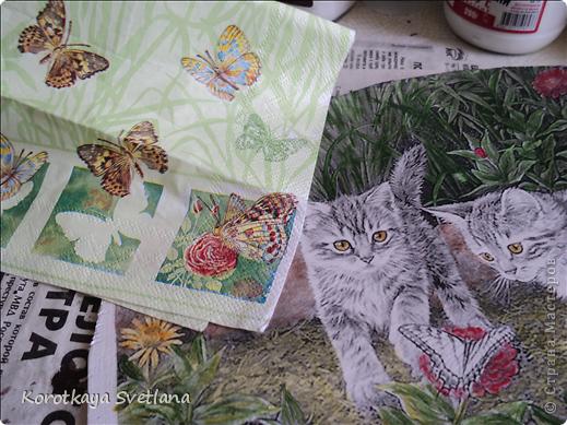 Дорогие мастера и мастерицы, хочу показать вам новые работы и эксперименты.  Это панно с котятами выполнено из не цветной распечатки на салфетке (белом слое). Разные распечатки я предлагала в обменнике. А сейчас хочу показать, что у меня получилось. фото 5