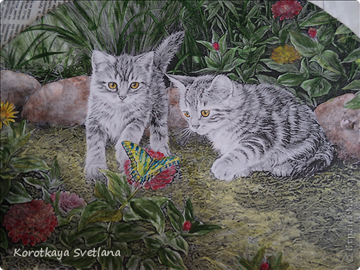 Дорогие мастера и мастерицы, хочу показать вам новые работы и эксперименты.  Это панно с котятами выполнено из не цветной распечатки на салфетке (белом слое). Разные распечатки я предлагала в обменнике. А сейчас хочу показать, что у меня получилось. фото 6